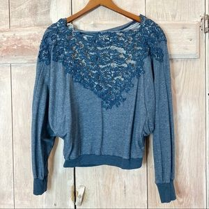 Meadow Rue Bria Lace Back Sweater Small Blue